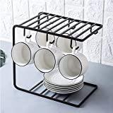 HOME CUBE 1 Pc Multifunction Metal Coffee Mug Cup Holder Rack Organizer Stand for Kitchen Counter, Cabinet, Table with 6 Hooks Shelf for Large Mugs - Black