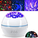 Night Light Projector for Kids Baby Light Projection Lamp 360 Degree Rotating Starry Sky Ocean Projector Night Lights 8 Colors Changing Light for Kids Boys Girls Children Bedroom Party Birthday White