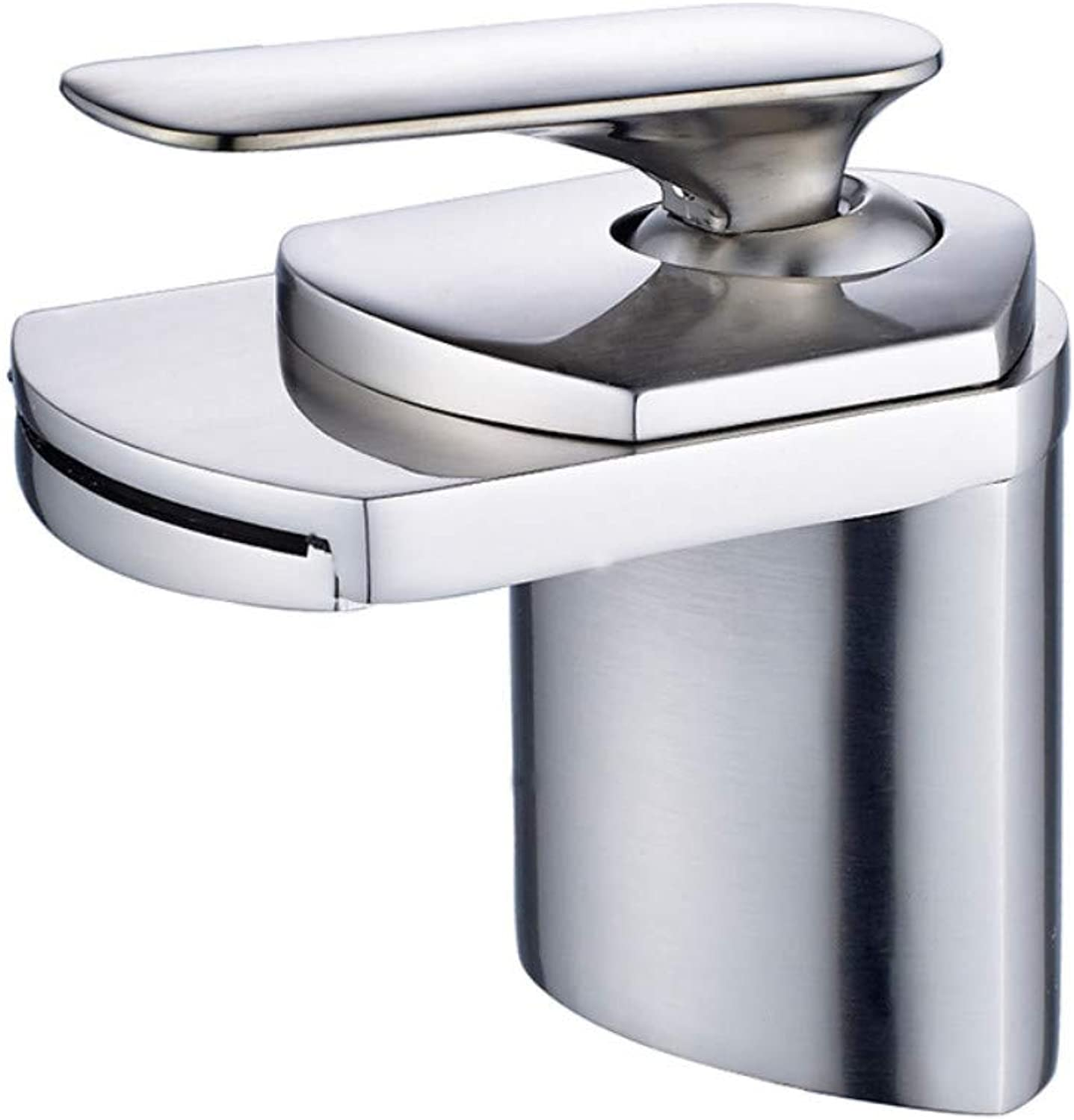 Kitchen Sink Taps Bathroom Sink Taps Waterfall Mountain Basin Mixer Faucet Brush Nickel Wide Trough Boat Sink Faucet