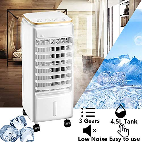 Aires Acondicionados Móviles 3 en 1 Climatizadores Evaporativos Enfriador y Humidificador 60W 3 Velocidades para el hogar Oficina habitación (Blanco)