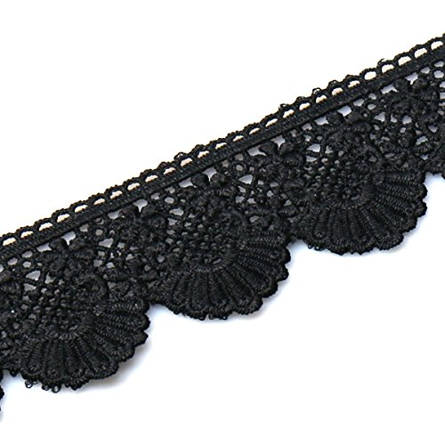 URBEST Lace Trim Fan Tail Durable Polyester Eyelet Lace Ribbon Embroidered Applique for Home Decor DIY Sewing Craft, 2.7 Inch Wide (Black, 3 Yard)