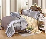 Juego de ropa de cama de seda de satén de lujo, funda de edredón y sábana bajera ajustable para cama individual, tamaño king, 25, tamaño King, 6 unidades