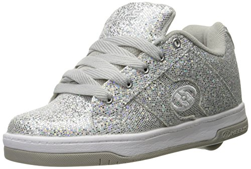 Heelys Girls Split Sneaker, Silver/Disco Glitter, 3 Little Kid