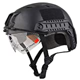 Leoie Lightweight Windproof Anti-Collision Helmet with Goggles Military Shooting Helmet Paintball Face Mask