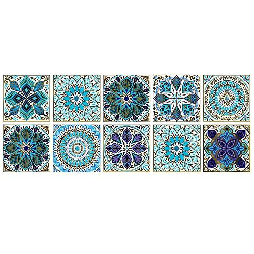 Pegatinas de azulejos de tamaño PVC, 10 piezas de simulación de flores, adhesivo impermeable para pared de azulejos, pequeño autoadhesivo para baño, cocina, pared DIY (20*20CM)