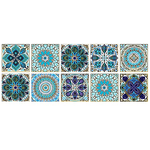 Adesivi per Piastrelle Formato in PVC, 10 Pezzi Adesivo Murale per Piastrelle Impermeabili con Simulazione Floreale Piccola Autoadesivo per Bagno Cucina Parete Fai da Te (20*20CM)