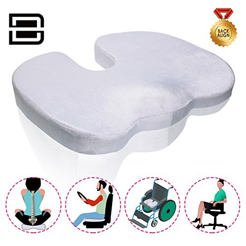 zuup Coccyx Orthopedic Memory Foam - Office Chair & Car Seat Cushion Pillow for Back Pain Sciatica Relief - Best for Lower Back Comfort, Injury, spasms, Therapeutic Wedge Contour Support
