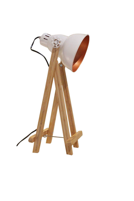 Lámpara a mesa proyector Déco acero blanco pies de madera – diseño ...