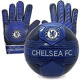 Chelsea FC - Juego Oficial de Guantes de Portero y balón de Talla 4 - para niños - Adolescentes: 10-16 años