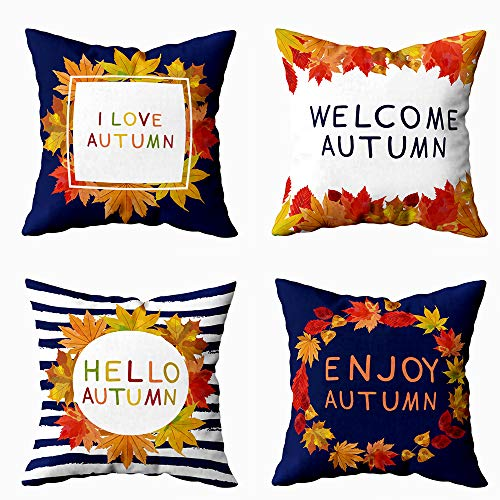 Fullentiart Colorful Pillow Cover,Farmhouse Throw Pillows for Couch 18X18 Pillow Insert Set of 4 Autumn Fall Colorful Festival Floral Garden Leaf Love Maple October Orange Trees Wreath