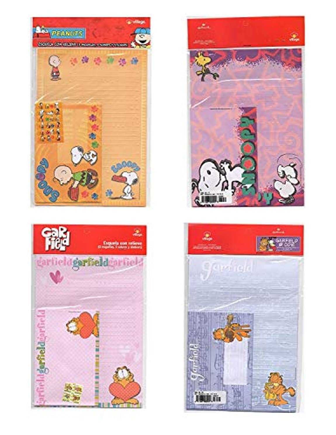 LOT 4 pcs SNOOPY & GARFIELD SET OF LETTER AND ENVELOPE AND STICKERS SCRAPBOOKING