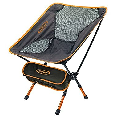 G4Free Lightweight Portable Chair Outdoor Folding Backpacking Camping Chairs For Sports Picnic Beach Hiking Fishing (Adjustable Orange)