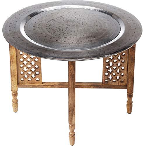 Marokkaanse ronde tafel salontafel Hania ø 60 cm rond | Oosterse woonkamertafel met inklapbaar vintage frame van hout in bruin | Het dienblad Deze klaptafel is gemaakt van metaal in zilver