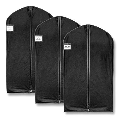HangerMaster Kleidersack für Anzug,atmungsaktive Schutzhülle und Tasche, 110cm,Schwarz,3Stück, Synthetisch, schwarz, 110cm (44