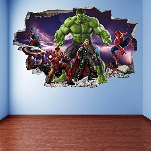 BAOJIAN Wall Sticker Superheroes Wall Art Stickers Mural Decal Hulk Spider Iron Man EA95