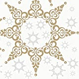 HANTERMANN Serviettes de Noël en Tissu airlaid 40 x 40 cm Pliage 1/4, Ornament Stars Gold/Silber, 25 Stück