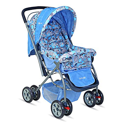 LuvLap Starshine Stroller / Pram, Easy Fold for Newborn Baby / Kids, 0-3 Years (Sky Blue)