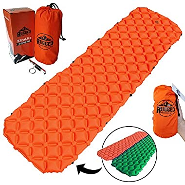 Rugged Mountain Co. Best Connectable Ultralight Sleeping Pad for Camping, Backpacking, Hunting & Hiking by, Inflatable Air Mattress, Compact Sleep Mat, Lightweight Portable Camping Gear