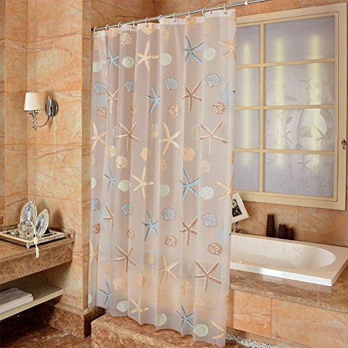 Ufatansy Uforme Sea Star Theme Pattern Shower Curtain Liner Waterproof, 100% Eco-Friendly PEVA Bathroom Curtian Stain Resistant with Rustproof Metal Grommets, Standard Size (48Wx72L)