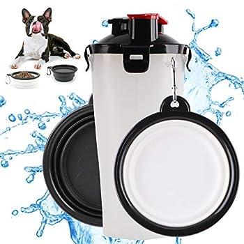 FancyWhoop Bouteille d'eau pour Chien Portable Distributeur d'eau Gamelle pour Chien Pliable pour Chien Chiot Chat Blanc