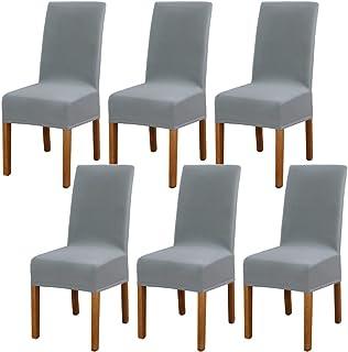6 Pièces GouBao Housse de Chaise Moderne élastique, Amovible Lavable Extensible Housses de chaise de salle à manger, Couve...