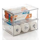 mDesign Organizador de armarios grande con cajón – Cajas organizadoras estables de plástico – Cajas apilables para guardar alimentos, ingredientes de repostería y otros – Juego de 2 – transparente