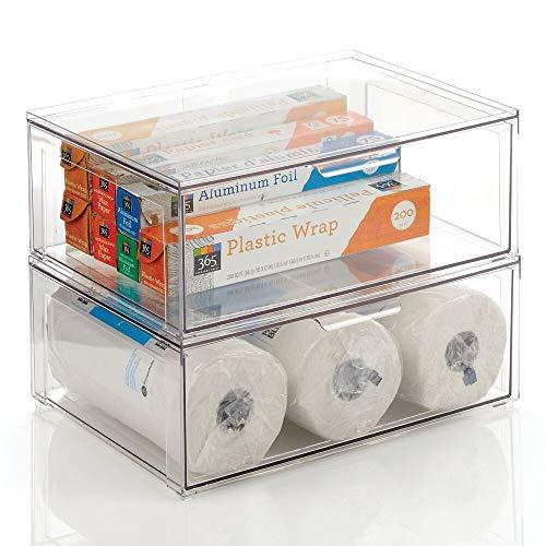 mDesign Pudełko do przechowywania z szufladą – stabilna plastikowa szuflada do żywności i akcesoriów kuchennych – pudełko do przechowywania w stos z wysuwaną szufladą – przezroczyste