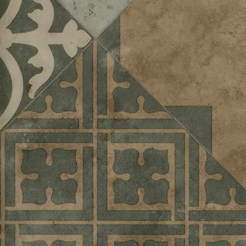 Vinylboden PVC Bodenbelag   Fliesenoptik Retro diagonal grau beige   200, 300 und 400 cm Breite   Meterware   Variante: 6,5 x 2m