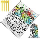 MODORSAN Geometry Brain Image con Manta de Playa con Estampado de Ciencia, tapete de Playa, Manta de Picnic al Aire Libre, a Prueba de Agua y tapetes de Secado, Senderismo, Camping, Picnic
