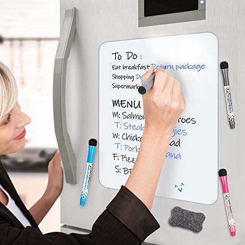 Small Magnetic Dry Erase Board Sheet for Refrigerator, Inmorven Fridge Whiteboard for Kitchen, 11.7'x16.5' White Board Organizer and Planner with Stain Resistant Technology, Include 1 Eraser,3 Markers