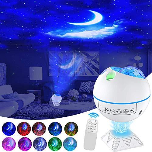 Proyector de estrellas, luz de techo Galaxy con mando a distancia y control por voz, luz nocturna LED giratoria de 120°, para el dormitorio, fiesta de adultos, regalo para niños