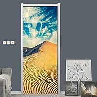 寝室用の3Dドアステッカー黄金の砂漠の青い空の風景 77X200Cm防水自己粘着ドアデカールポスター壁紙キッチンバスルーム家の装飾ビニールステッカー取り外し可能な壁画