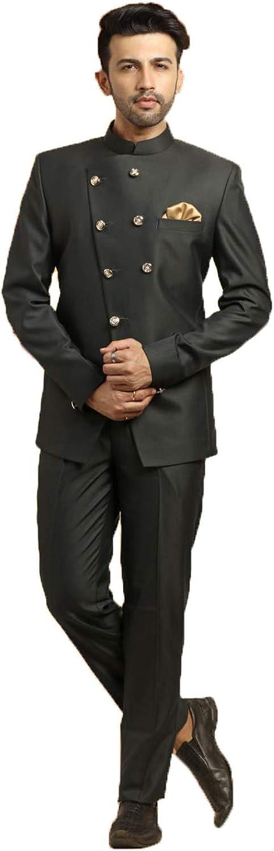 Indian Designer Partywear Traditional Ethnic Black Mens Jodhpuri Suit. MENS2484-12-46