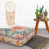 Mandala Life ART Bohemian Yoga Decor Floor Cushion Cover - 24x8 inches - Square Meditation Carpet Pillow Case - Printed Cotton Rug Pouf