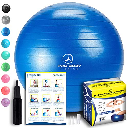 ProBody Pilates Exercise Ball - Professional Grade Anti-Burst Fitness, Balance Ball for Yoga, Birthing, Stability Gym Workout Training and Physical Therapy - Work Out Guide Included (Blue, 85 cm)
