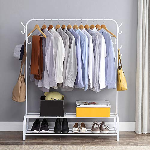 Clothing Garment Rack with Shelves, Metal Cloth Hanger Rack Stand Clothes Drying Rack for Hanging Clothes,with Top Rod Organizer Shirt Towel Rack and Lower Storage Shelf for Boxes Shoes Boots, White