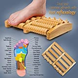 Dual Wooden Foot Massager Roller - Relieve Relieves Plantar...