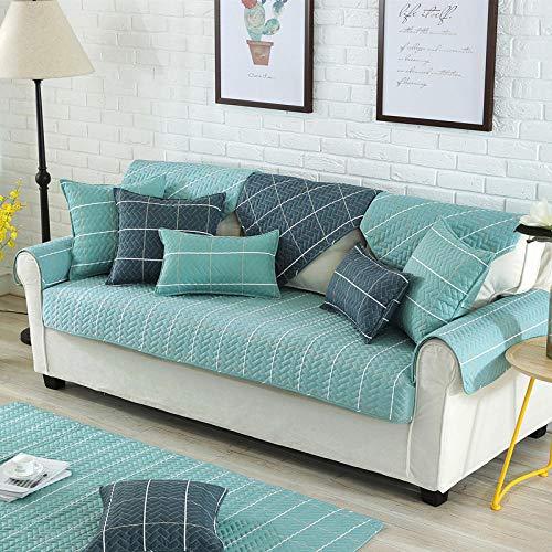 Homeen Funda de sofá duradera, funda de sofá de algodón grueso, estilo nórdico, escudo seccional de sarga para sofá, funda de sofá de tela, fundas de reposabrazos, toalla de respaldo_azul_90 x 90 cm