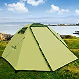 Campla Tent for Camping Outdoors,Backpacking Tents with LED Fit 2 3 Person 3 Season Lightweight Waterproof Tent for Family Mountaineering Hiking Traveling Easy Set-Up with Carrying Bag Green