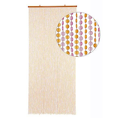 HAB & GUT Türvorhang Mini-DIAMANTEN, Pink Orange, 90x200 sehr dicht, Insektenschutz Perlen Pailettenvorhang