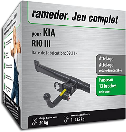 Rameder Pack, attelage rotule démontable + Faisceau 13 Broches Compatible avec KIA Rio III (161072-09697-1-FR)