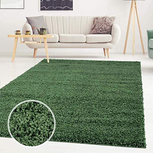 Carpet City ayshaggy Shaggy Teppich Hochflor Langflor Einfarbig Uni Grün Weich Flauschig Wohnzimmer, Größe: 120 x 170 cm, 120 cm x 170 cm