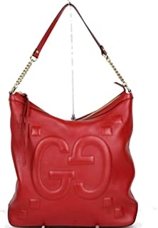 1497a0ff07d Gucci Women s Red Leather Embossed Apollo Hobo Chain Shoulder Bag 453562  6433