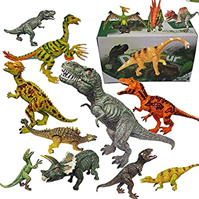 "Dinosaur Toys for Kids and Boys Realistic Figures Educational for Kids 3-5 Years Old Up,with Movable Jaws,Including T-Rex, Velociraptor Etc,14 Pcs, 6"" to 10"" by HAODAIWANJU"