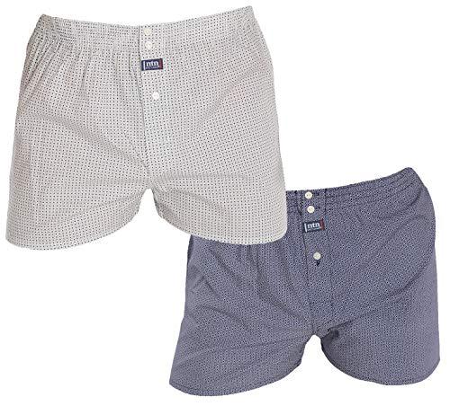 El Búho Nocturno Pack de 2 bóxer de Tela popelín de algodón con Costura Americana Estampados en Blanco y Marino Talla M