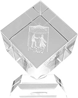 Alef Judaica Clear Crystal with Laser Cut of Bride and Groom Inside on Crystal Base