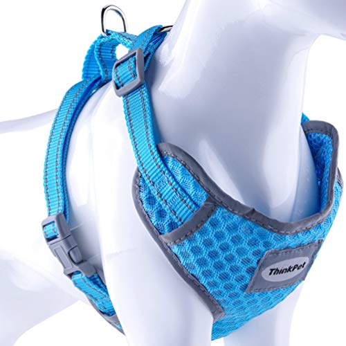ThinkPet Reflective Breathable Soft Air Mesh No Pull Puppy Choke Free Over Head Vest Ventilation Harness for Puppy Small Medium Dogs and Cats Neon Blue Neck 8-12 in/Chest 12-17 in