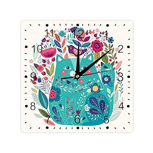 Gatito rodeado de pájaros flores mariquitas inspirador folk bebé tema color cuadrado morden reloj Slient