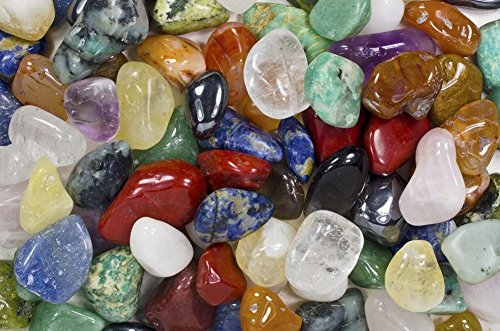 Fantasia Materials: 3 lbs Premium Brazilian Tumbled Polished Natural Stones Assorted Mix - Medium - 1' to 1.5' - Bulk Polished Gemstone Supplies for Crafts, Reiki, Wicca, Chakra & Crystal Healing