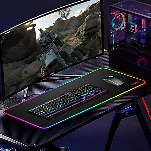 """RGB Mousepad, Large Extended Led Mousepad with 14 Lighting Modes, Non-Slip & Waterproof Rubber Base Computer Keyboard Pad Mat(31.5""""x11.8"""") Photo #4"""